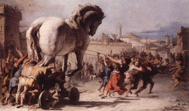 "Giovanni Tiepolo, ""The Procession of the Trojan Horse"" (1773), National Gallery,  London"